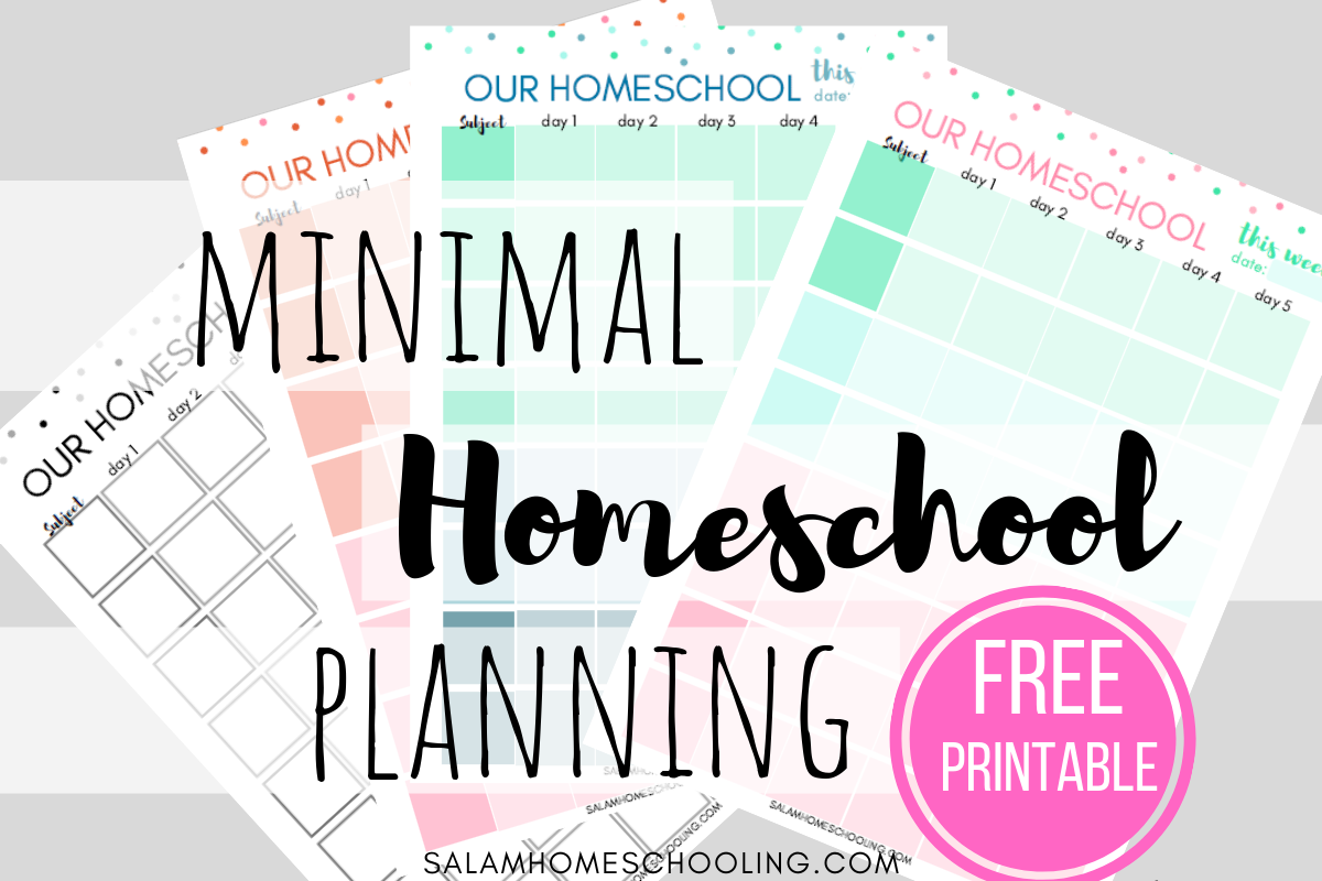 Simple minimal homeschool weekly planning with free printables